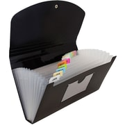JAM Paper® 13 Pocket Expanding File, Check Size, 5 x 10.5, Black, Sold Individually (2167013)