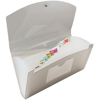 JAM Paper Chemise-accordéon, 13 pochettes, fermeture bouton/ficelle, format chèque 5 x 10,5 po, gris fumée, 2/pqt (221618981z)