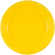 JAM Paper® Round Plastic Plates, Small, 7 Inch, Yellow, 20/pack (255321940)