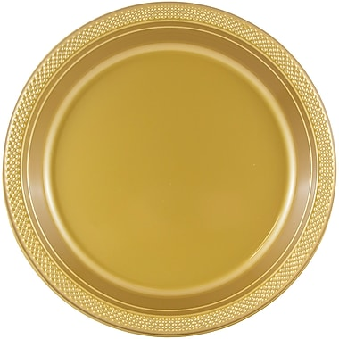 JAM Paper – Assiettes en plastique rondes, moyen, 9 po, doré, 200/paquet (255325365b)