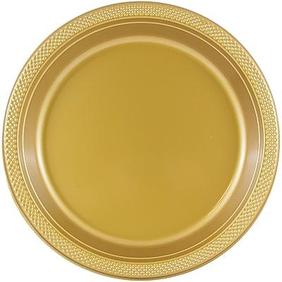 JAM Paper® Round Plastic Plates, Medium, 9 Inch, Gold, 20/pack (255325365)