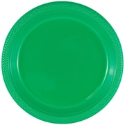 JAM Paper® Round Plastic Plates, Small, 7 Inch, Green, 20/pack (255328195)