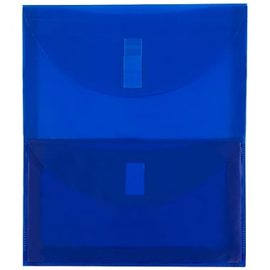 JAM Paper® Plastic 2 Pocket Envelopes, VELCRO® Brand Closure, Letter Open End, 9.75 x 11.75, Blue Poly, 1/pk (2163613476)