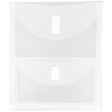 JAM Paper® Plastic 2 Pocket Envelopes, Hook & Loop Fastener Closure, Letter Open End, Clear Poly, 12/Pack (2163613478b)