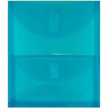 JAM Paper® Plastic 2 Pocket Envelopes, VELCRO® Brand Closure, Letter Open End, 9.75 x 11.75, Teal Blue Poly, 1/pk (2163613480)
