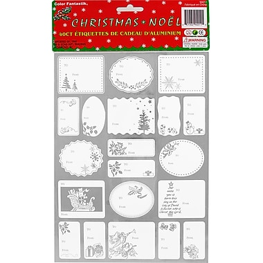 JAM Paper® Christmas Gift Tag To From Holiday Stickers, Silver Foil, 40/Pack (2207016163)
