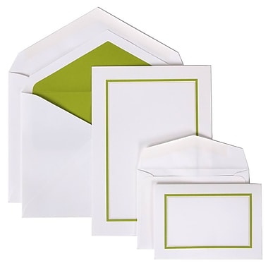 JAM Paper® Colorful Border Stationery Set Combo, 50 Large Cards Envelopes, 100 Small Cards Envelopes, Green,100/set (2237719065)