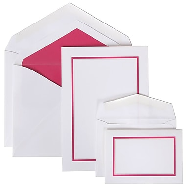 JAM Paper® Colorful Border Stationery Set Combo, 50 Large Cards Envelopes, 100 Small Cards Envelopes, Pink, 100/set (2237719067)