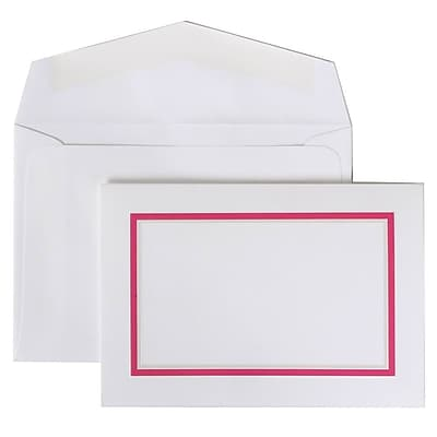JAM Paper® Colorful Border Stationery Set, 104 Small Cards and 100 Envelopes, Pink (2237719079)