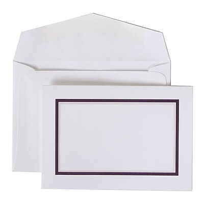 JAM Paper® Colorful Border Stationery Set, 104 Small Cards and 100 Envelopes, Purple (2237719080)