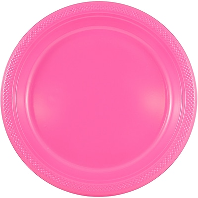 JAM Paper® Round Plastic Plates, Small, 7 Inch, Pink, 20/pack (2255320680)