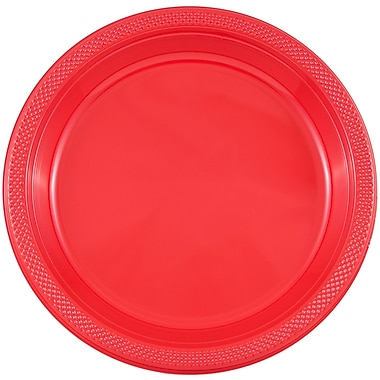JAM Paper – Petites assiettes rondes en plastique, 7 po, rouge, 200/paquet (7255320666B)