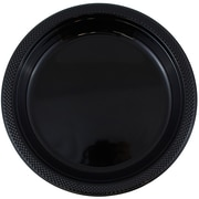 JAM Paper® Round Plastic Plates, Small, 7 Inch, Black, 20/pack (7255320672)