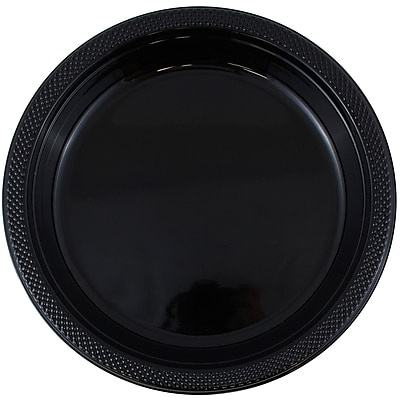 //.staples-3p.com/s7/is/  sc 1 st  Staples & JAM Paper® Round Plastic Plates Small 7 Inch Black 20/pack ...