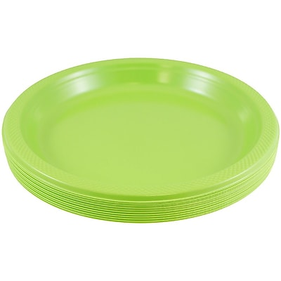 //.staples-3p.com/s7/is/  sc 1 st  Staples & JAM Paper® Round Plastic Plates Small 7 Inch Lime Green 20/pack ...