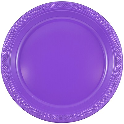 //.staples-3p.com/s7/is/  sc 1 st  Staples & JAM Paper® Round Plastic Plates Medium 9 Inch Purple 20/pack ...