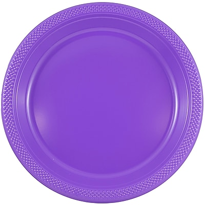 JAM Paper® Round Plastic Plates, Small, 7 Inch, Purple, 20/pack (7255320688)