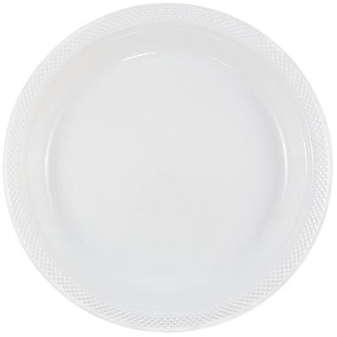 JAM Paper® Round Plastic Plates, Small, 7 Inch, White, 20/pack (7255320690)