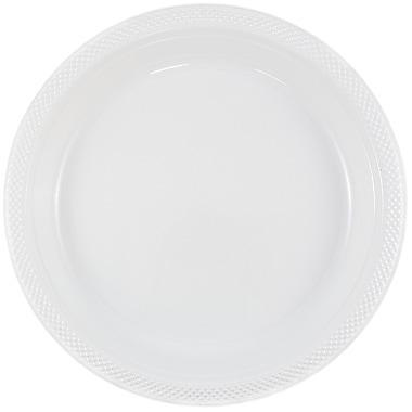 JAM Paper – Assiettes en plastique rondes, moyenne, 9 po, blanc, 200/paquet (9255320691b)