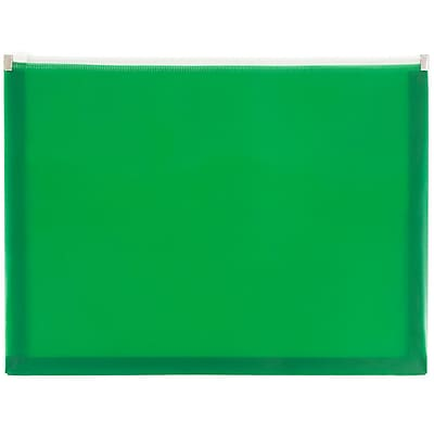 JAM Paper® Plastic Envelopes with Zip Closure, Letter Booklet, 9.5 x 12.5, Green Poly, 12/pack (218Z1GR)