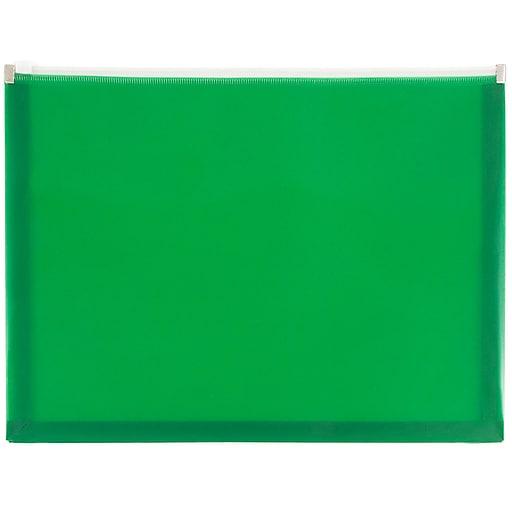 JAM Paper® Plastic Expansion Envelopes with Zip Closure, Letter Booklet, 9.75 x 13, Green, 12/Pack (218Z1GR)