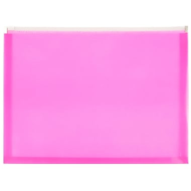 JAM Paper® Plastic Envelopes with Zip Closure, Letter Booklet, 9.5 x 12.5, Hot Pink Poly, 12/pack (218Z1HOPI)