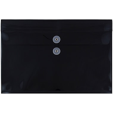 JAM Paper® Plastic Envelopes with Button and String Tie Closure, Legal Booklet, 9.75 x 14.5, Black Poly, 12/pack (219B1BL)
