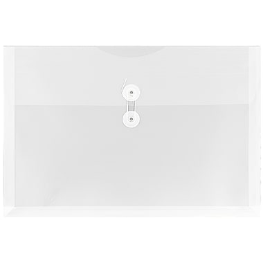 JAM Paper® Plastic Envelopes with Button and String Tie Closure, Legal Booklet, 9.75 x 14.5, Clear Poly, 12/pack (219B1CL)