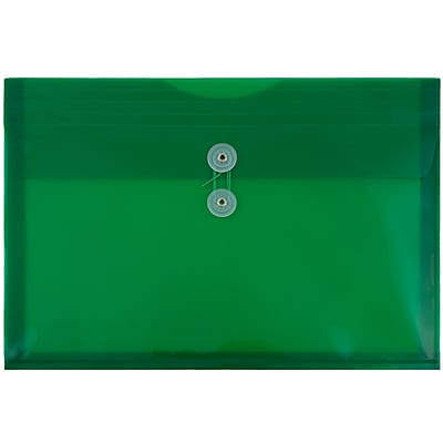 JAM Paper® Plastic Envelopes with Button and String Tie Closure, Legal Booklet, 9.75 x 14.5, Green Poly, 12/pack (219B1GR)