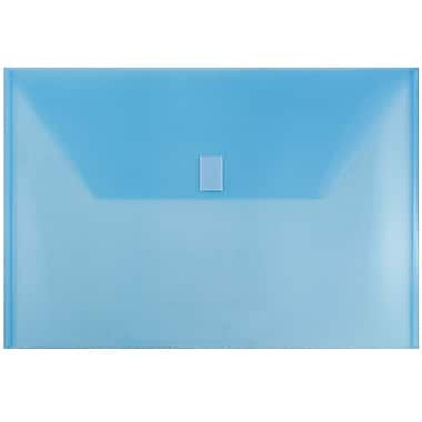 JAM Paper® Plastic Envelopes with VELCRO® Brand Closure, Legal Booklet, 9.75 x 14.5, Blue Poly, 12/pack (219V0BU)