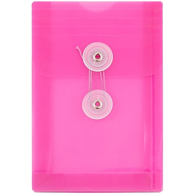 JAM Paper® Plastic Envelopes with Button and String Tie Closure, Open End, 4.25 x 6.25, Fuchsia Pink Poly, 12/pack (473B1FU)
