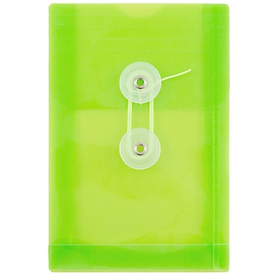 JAM Paper® Plastic Envelopes with Button and String Tie Closure, Open End, 4.25 x 6.25, Lime Green Poly, 12/pack (473B1LI)