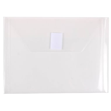 JAM Paper® Plastic Envelopes with VELCRO® Brand Closure, Index Booklet, 5.5 x 7.5, Clear Poly, 12/Pack (920V0CL)