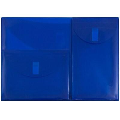 JAM Paper® Plastic 3 Pocket Envelopes with Hook & Loop Closure, Letter Booklet, 9.75
