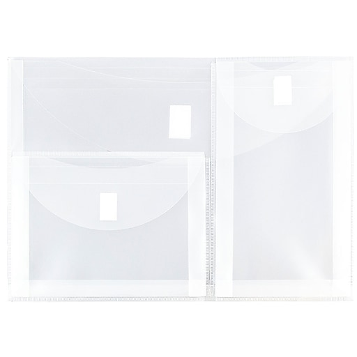 JAM Paper® 3 Pocket Plastic Envelope with Hook & Loop, Letter Booklet, 9.75 x 13, Clear, Sold Individually (B35318B)