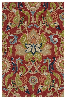 Charlton Home Manning Floral And Plants Red Indoor/Outdoor Area Rug; Rectangle 2' x 3'