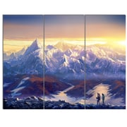 DesignArt 'Winter Mountains w/ Tourists' 3 Piece Painting Print on Canvas Set