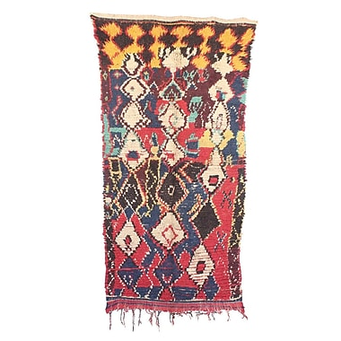 Indigo&Lavender Azilal Hand-Woven Wool Red/Yellow Area Rug