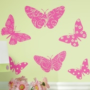 Room Mates Flocked Butterfly Peel and Stick Giant Wall Decal