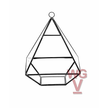 WGVInternational Nonahedron Raised Pyramid Glass Terrarium; Black