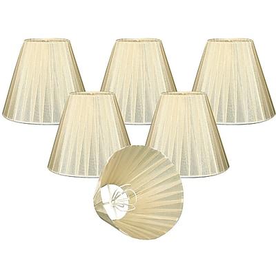 RoyalDesigns Organza 6'' Silk Empire Lamp Shade (Set of 6); Eggshell
