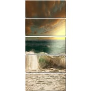 DesignArt 'Rushing Waves Under Heavy Clouds' 5 Piece Photographic Print on Canvas Set