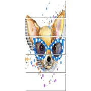 DesignArt 'Cute Puppy w/ Blue Glasses' 5 Piece Painting Print on Canvas Set