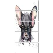 DesignArt 'Cute Watercolor Puppy Dog' 5 Piece Graphic Art on Canvas Set
