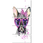 DesignArt 'Cute Dog w/ Pink Glasses' 5 Piece Graphic Art on Canvas Set
