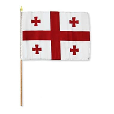 FlagsImporter Georgia (Country) Traditional Flag and Flagpole Set (Set of 12)