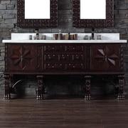 James Martin Furniture Balmoral 72'' Double Antique Walnut Bathroom Vanity Set