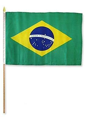 FlagsImporter Brazil Traditional Flag and Flagpole Set (Set of 12)