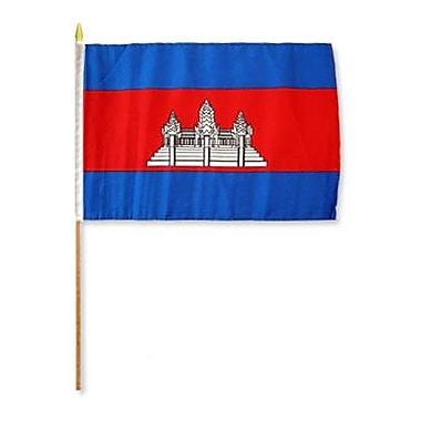 FlagsImporter Cambodia Traditional Flag and Flagpole Set (Set of 12)