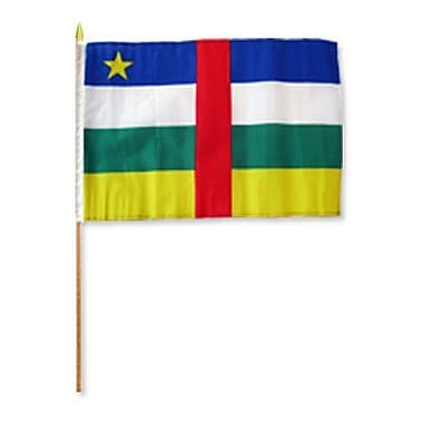 FlagsImporter Central African Republic Traditional Flag and Flagpole Set (Set of 12)